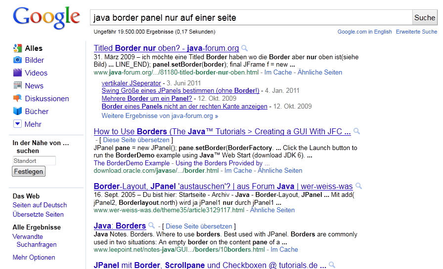 altes Google Layout